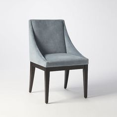 Curved Upholstered Chair Steel Blue West Elm