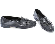 1dd1e1ef37d54 US men 9 Italian Loafers Shoes 80s Black Fringed Loafers Driver Shoes Wide  Fit Soft Leather Moccasins Grandpa Shoes . EUR 43 UK 8.5