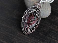 Eudialyte ncklace Silver pendant Red stone Wire wrapped pendant, Statement necklace Christmas gift for wife Wire Necklace, Pendant Earrings, Silver Necklaces, Necklace Lengths, Wire Wrapped Pendant, Wire Wrapped Jewelry, Handmade Silver, Handmade Jewelry, Christmas Gifts For Wife