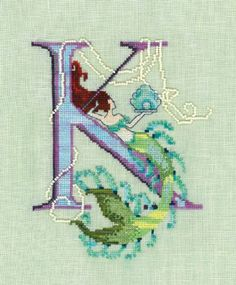 Letters From Mermaids K is the title of this cross stitch pattern from Nora Corbett.