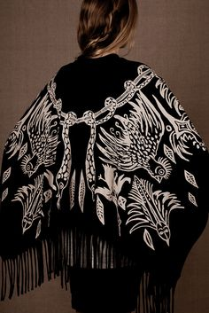 "Organic cotton and bamboo jersey Poncho / Shawl ""Shaman Print"""