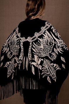 "Organic cotton and bamboo jersey Poncho / Shawl ""Shaman Print"""