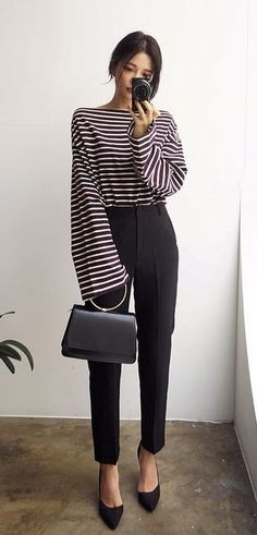 #winter #outfits black and white striped trumpet-sleeved scoop-neck shirt and black pants