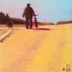 Mann, Velo, Hund by Christian Stoop; Bicycle, Country Roads, Christian, Oil, Painting, Artworks, Pet Dogs, Lawn And Garden, Bike