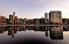 """""""Late Afternoon Reflections (Back Bay). """" Boston's Back Bay reflected in the Esplanade lagoon."""