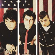 My Chemical Romance & Green Day. Gerard Way, Billie Joe Armstrong, Frank Iero ((AMERICAN IDIOTSS))