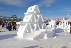 The Bonhomme welcomes visitors to the Carnival from the Ice Palace. The annual Quebec Winter Carnival is well underway, starting last . Quebec Winter Carnival, Snow Sculptures, Sand Sculpture, Ice Art, Snow Pictures, Ice Castles, Snow Art, Winter Festival, Snow And Ice
