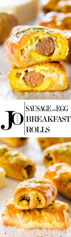 Sausage and Egg Breakfast Rolls - easy and quick to make grab-and-go-breakfast. Turkey breakfast sausages wrapped in crescent rolls with scrambled eggs and cheese.