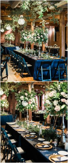 Hanging greenery, reception design, wedding décor, indigo blue linens, gold chargers, rustic wooden venue meets glamorous details // Danielle Harris Photography