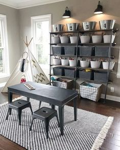 Playroom storage with style Credit to Playroom Organization athomewithjenna Credit Playroom storage Style
