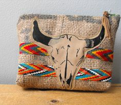 Cow Skull South West Zipper Pouch#etsy
