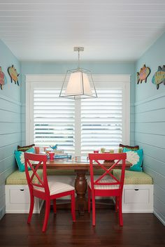 A fun and colorful lake house bunk room designed by Bayberry Cottage filled with custom details and clever storage solutions. Coastal Living Rooms, Home Living Room, Bright Paint Colors, Bunk Rooms, House Of Turquoise, Built In Bench, Kitchen Nook, Tiny Spaces, Kitchen Design
