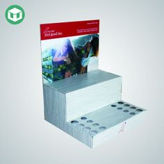 Custom shaped header and full colour, full coverage printing Two shelves separate different products, top shelf is shallower Cardboard Display, Counter Display, Advertising And Promotion, Floating Nightstand, Header, Separate, Shelf, Printing, Colour