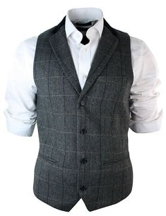 Mens Vintage Tweed Check Waistcoat Herringbone Tan Brown Charcoal Grey Slim Fit