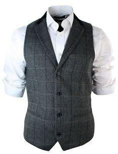 Mens Vintage Tweed Check Waistcoat Herringbone Tan Brown Charcoal Grey Slim Fit