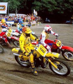 Motocross Riders, Motorcycle Gear, Vintage Motocross, Vintage Racing, Suzuki Dirt Bikes, Off Road Bikes, Dirtbikes, Vintage Bikes, Cool Bikes