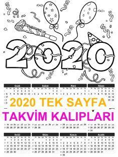 2020 Tek Sayfa Takvi
