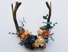 Floral Antlers antlers with flowers deer antlers by LotusFloralArt