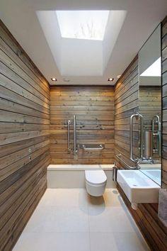 · vertical grab bars; wood in the BA