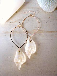 Seashell Earrings, Hawaii Shell Hoops, Hammered Gold Marquis Hoops, Beachy…