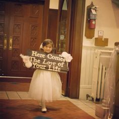 Flower girl sign. Alternative for flowers. Here comes the love of your life sign. #flowergirl#weddingsign