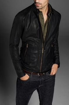 Black Leather Jacket Men Massimo Dutti