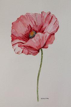 "9 x 12 ORIGINAL watercolor painting ""Poppy"" flower art. $80.00, via Etsy."