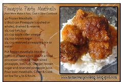 Pineapple Party Meatballs (we will be making these tonight) BUT perfect for Super Bowl Parties too! Lunch Recipes, Crockpot Recipes, Cooking Recipes, Appetizer Dips, Appetizer Recipes, Party Meatballs, Slow Cooker Freezer Meals, Food Dishes, Party Ideas