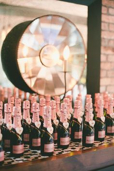 wedding favors and seating mini champagne bottles inspiration