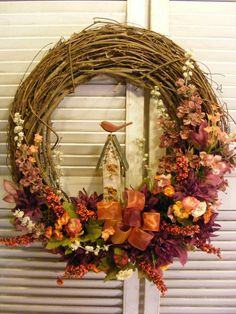 Grapevine Wreath with Folk Art Birdhouse Fall by Dunewooddesigns