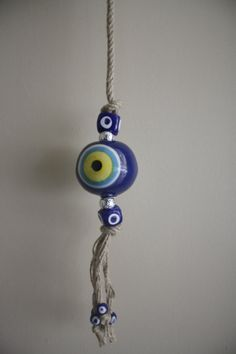 Blue Evil Eye Bead Wall Hanging Amulet handmade by TurkishMuseum