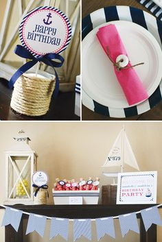 Sweet & Preppy Nautical Birthday Party, would also be cute for a baby or bridal shower! Nautical Bridal Showers, Nautical Party, First Birthday Parties, Birthday Party Themes, Birthday Ideas, 21st Birthday, Sailor Party, Navy Party, Baby Shower