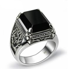Black obsidian ring vintage 925 sterling silver for mens with natural stone fine jewelry joyas de plata Sterling Silver Diamond Rings, Mens Silver Rings, Silver Man, Silver Diamonds, Diamond Jewelry, 925 Silver, Gold Jewellery, Jewellery Shops, Men Rings