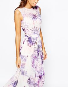 Image 3 of True Violet Floral Maxi Dress With Open Back