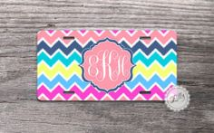 Cute License Plate - Monogrammed colorful ikat chevron car tag , personalized
