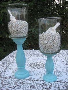 Tiffany Blue Apothecary Jars Wedding Decor Candy Buffet  XX Large. $44.95, via Etsy.