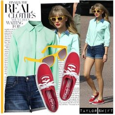 Cute set. Colorful blouse paired with denim shorts. She's always wearing shorts like these!