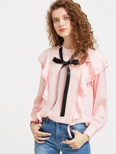 Shop Contrast Tie Neck Cuffed Sleeve Frill Top online. SheIn offers Contrast Tie Neck Cuffed Sleeve Frill Top & more to fit your fashionable needs.