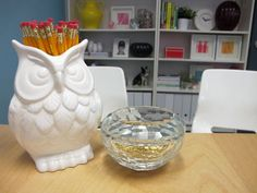 Using beautiful receptacles for office organization.