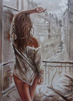 Monika Luniak - Paintings for Sale , Monika Luniak - Paintings for Sale Painting Of Girl, Oil Painting On Canvas, Figure Painting, Watercolor Paintings, Art Romantique, Fish Art, Erotic Art, Art Techniques, Figurative Art