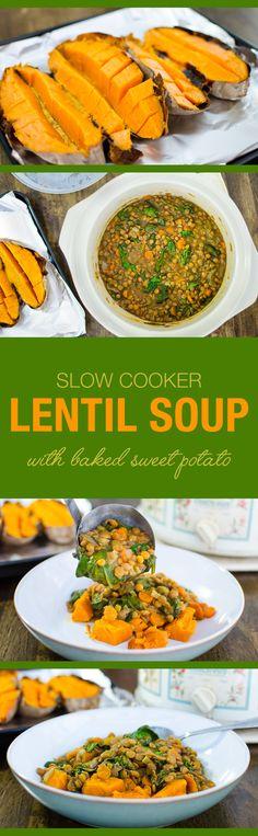 Soup Recipe: Slow Cooker Lentil Soup #vegan #healthy #recipes #plantbased #whatveganseat #glutenfree #soup