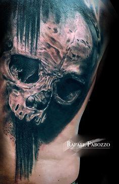 Trash Skull Tattoo by Rafael Fabozzo Eagle Tattoos, Color Tattoo, Skull, Colors, Art, Art Background, Color Tattoos, Kunst, Gcse Art