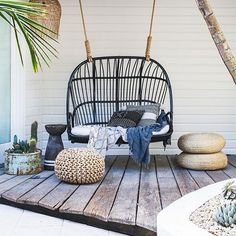 The Lucy Love Seat in the @spell_byronbay store featured on @mydomaine last week thanks to the rad duo @citizens__of__style . #hangingchairs #byronbayhangingchairs #interiordesign #rotin #rattanchair #swingingchair