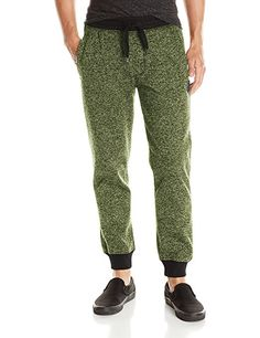 (>566 costumers) Southpole Men's Jogger Pants Basic Fleece Solid Clean in Marled Colors, Marled Lime, Medium