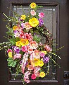 Gerber Daisy Wreath Spring Wreaths Easter Wreath by LuxeWreaths Spring Door Wreaths, Easter Wreaths, Summer Wreath, Wreaths For Front Door, Christmas Wreaths, Outdoor Wreaths, Gerber Daisies, Grapevine Wreath, Floral Arrangements