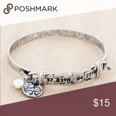 """KENTUCKY Silver Tone Longitude & Latitude Bangle 2.25"""" bar with inscribed coordinates. 35.51 degrees N, 84.27 degrees W .5"""" disk with outline of state and faux pearl bead charm. Burnished silver tone with wire accents, 2.25"""" diameter. Hook closure. Lead and nickel compliant. Jewelry Bracelets"""