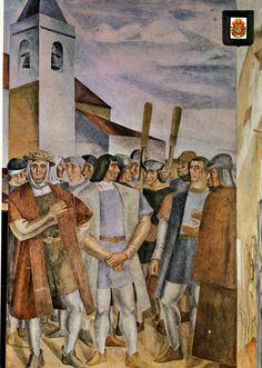 Postales de Huelva: Monasterio de La Rábida, fresco de Daniel Vázquez Díaz