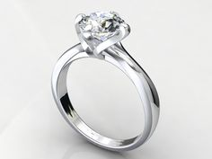 Sterling Silver 925 kt. metal . Swarovski Lab Diamond Gem 1.00 ct.  size re sizable . If you want 3d cad file for this design  feel free   to contact me .