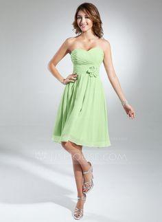 A-Line/Princess Sweetheart Knee-Length Chiffon Bridesmaid Dress With Ruffle Flower(s) (007051838)