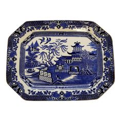 For Sale on - Antique willow pattern platter by Burleigh ware of England. Excellent quality and condition. A Classic decorating statement piece of antique English Blue